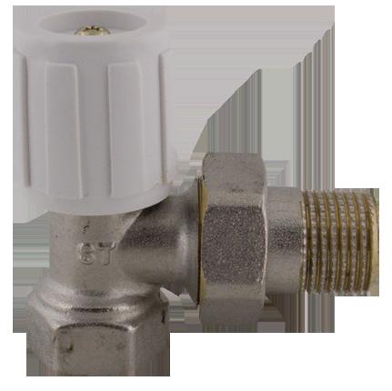 """407 Radiátorový ruční ventil rohový DN10 3/8"""" jednoregulační s hlavicí"""