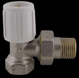 """407 Radiátorový ruční ventil rohový DN10 1/2"""" jednoregulační s hlavicí"""