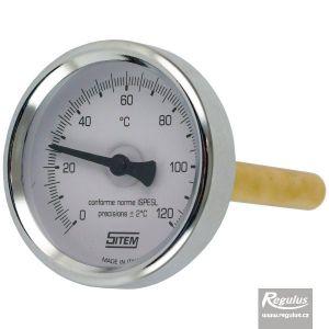 """Regulus teploměr 0-120°C s jímkou (l= 100, 1/2""""), zadní, d=63 mm 14296"""