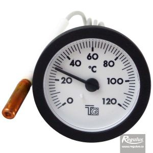 Regulus Teploměr 0-120°C, kapilára 0,5 m, d=57,5 mm, černý 14702