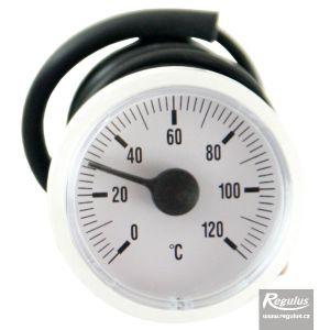 Regulus Teploměr 0-120°C, kapilára 1 m, d=42 mm, bílý 1148