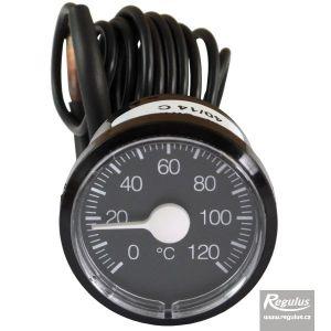 Regulus Teploměr 0-120°C, kapilára 1 m, d=42 mm, černý 14256