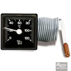 Regulus Teploměr 0-120°C, kapilára 1 m, 48x48 mm, černý 120