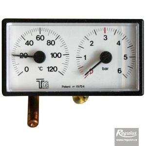 Regulus Termomanometr 0-120°C, 6 bar, kapilára 1 m, 42x78 mm 3643