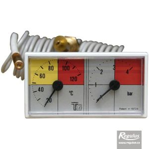 Regulus Termomanometr 0-120°C, 4 bar, kapilára 1 m, 42x78 mm 5190