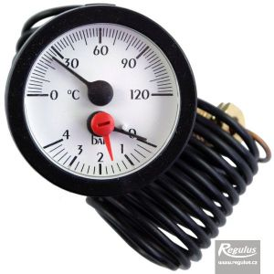 Regulus Termomanometr 0-120°C, 0-4 bar, kapilára 1 m, d=57,5 mm 11094