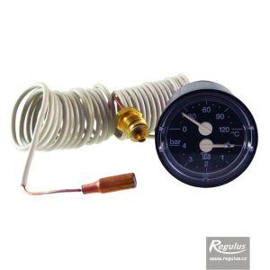 Regulus Termomanometr 0-120°C, 0-4 bar, kapilára 1,5 m, d=42 mm 6392