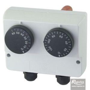 Regulus termostat provozní zakrytovaný s jímkou dvojitý 0-60/30-120°C 10782