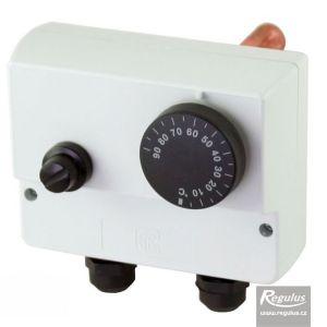 Regulus termostat zakrytovaný s jímkou dvojitý 0-90/100°C, čidla 6,5x100 mm 10771